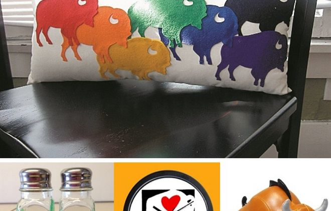 Buffalo-themed gift ideas include the pillow, top, part of Buffalovely collection; salt and pepper shakers hand-painted by Gretchan Grobe; a clock by Michael Morgulis, New Buffalo Graphics; and a buffalo bookend at Reeds/Jenss.