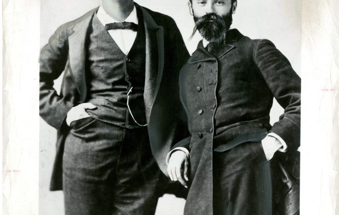 This image of Mark Twain, left, from the 1880s much more closely resembles the man his Buffalo friends would have known than the well-known white-haired Twain.