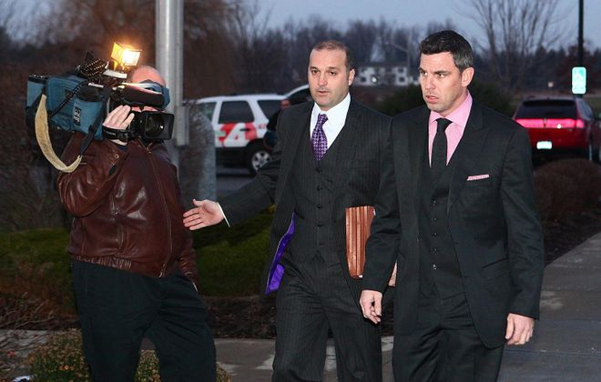 Ex-Sabre Matthew Barnaby, right, and his attorney Frank Lotempio III.