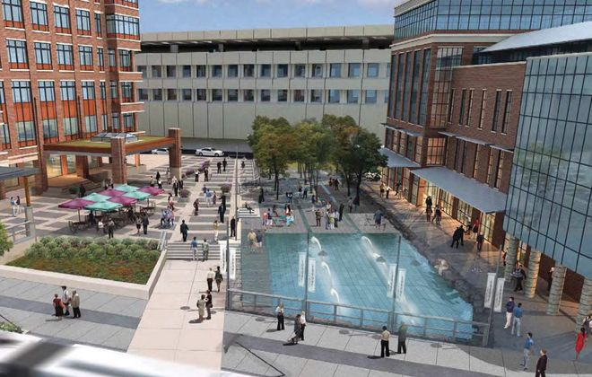 The $5 million East Canal park project will sit between the former Donovan State Office Building, seen in illustration at left, and a potential mixed-use development, seen at right.
