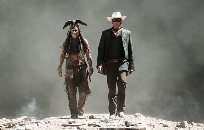 """Johnny Depp as Tonto and Armie Hammer as The Lone Ranger in """"The Lone Ranger."""""""