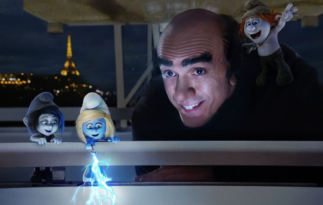 The Smurfs are back, including, from left, Vexy, voiced by Christina Ricci; Smurfette, voiced by Katy Perry; Hank Azaria as Gargamel; and Hackus, voiced by J.B. Smoove.