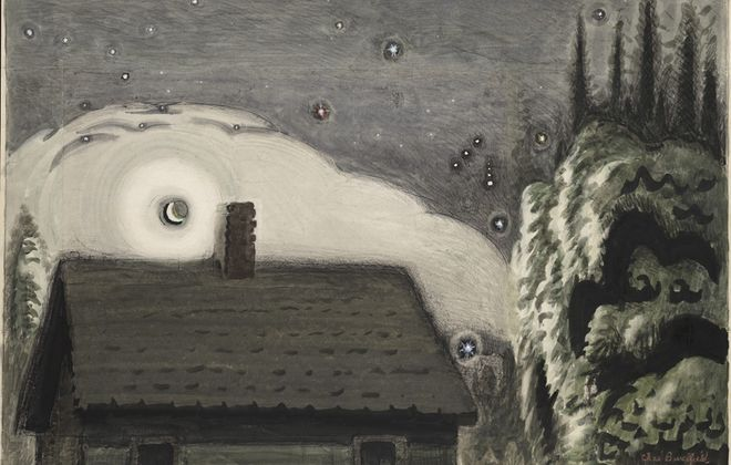 """""""Orion and the Moon,"""" a 1917 painting by Charles Burchfield, kicks off the exhibition """"Oh My Heavens"""" in the Burchfield Penney Art Center."""