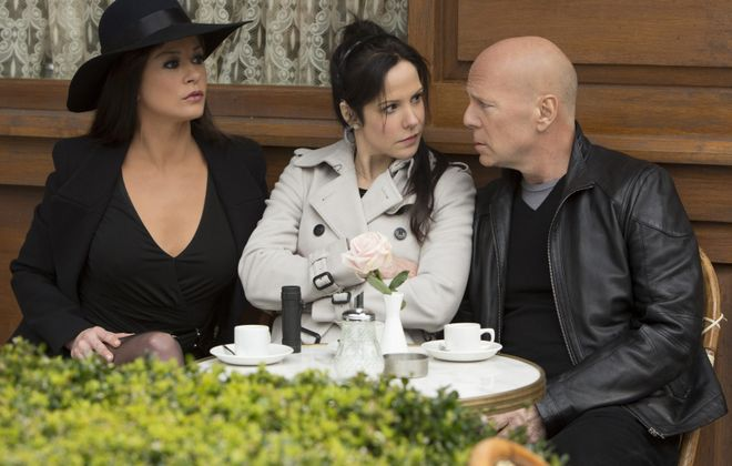 "From left, Catherinze Zeta-Jones, Mary-Louise Parker and Bruce Willis star in ""Red 2."""