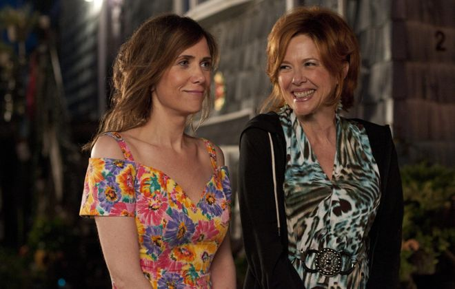 "Kristen Wiig, left, and Annette Bening play a dysfunctional daughter and mother in ""Girl Most Likely."""