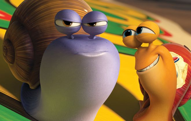 "Chet, voiced by Paul Giamatti, left, and Turbo, voiced by Ryan Reynolds in a scene from the animated movie ""Turbo."""