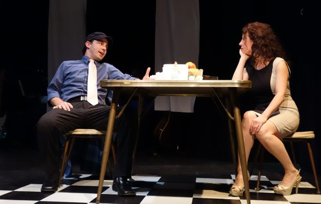 "John Kaczorowski and Theresa Quinn appear in MusicalFare Theatre's original production ""Talk to Me Now."""