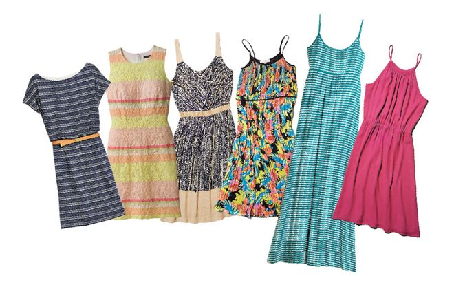Dress time: A sampling of summer styles, from left to right, are from Marshalls, Ann Taylor, two from LOFT, Marshalls and another from LOFT.
