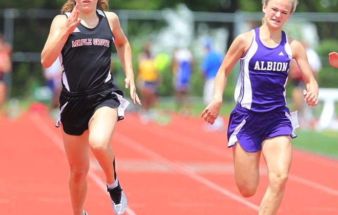 Christina Walter wins the Division II 100m race during the Section VI State Track Qualifier at Pioneer High School earlier this month.