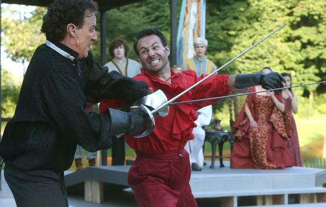 "Shaun Sheley, left, is Hamlet, and Adam Rath is Laertes in Shakespeare in Delaware Park's ""Hamlet,"" opening tonight."