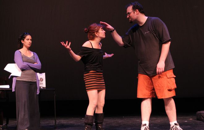 Sharon Cantillon/Buffalo News file photo  Megan Callahan, left, Maria Droz and Jeffrey Coyle rehearse during MusicalFare Theatre's 24-hour musical festival in 2012. This year's event takes place at 8 p.m. Saturday in the 710 Main Theatre.