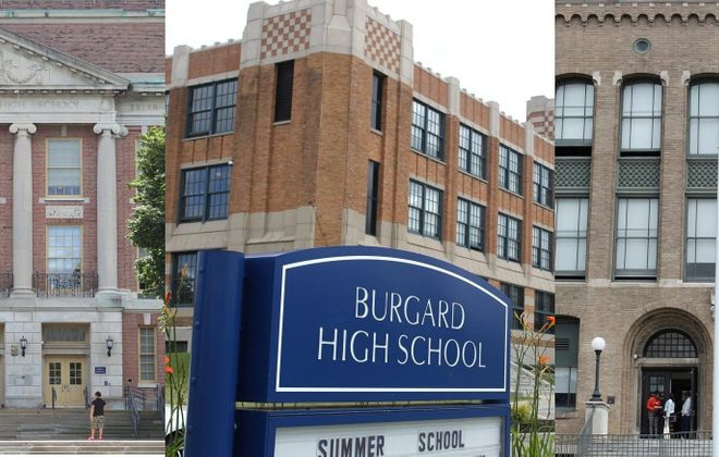 From left: Bennett, Burgard and East high schools had graduation rates of 32 percent, 24 percent and 27 percent respectively in 2012.
