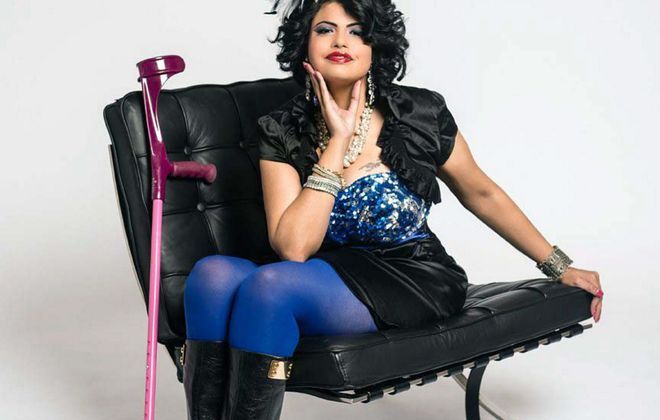 Jewel Kats wears her disability with pride - along with her feathers,  tattooed eye makeup s and hot-pink crutches.