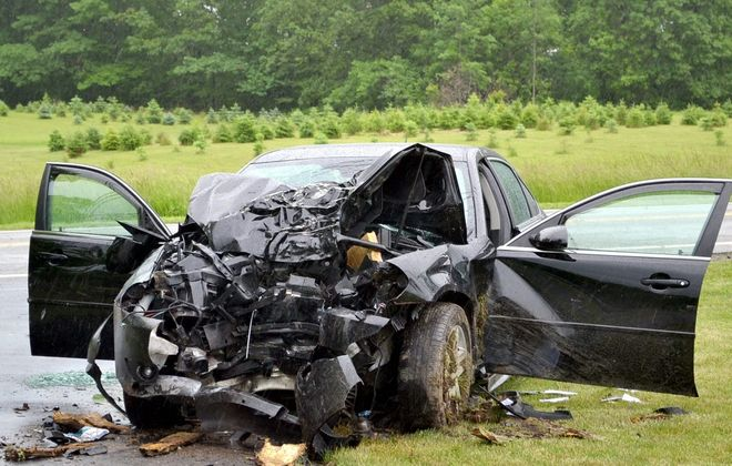 An elderly woman was killed Monday when her car left Porter-Center Road in Porter and struck a tree.