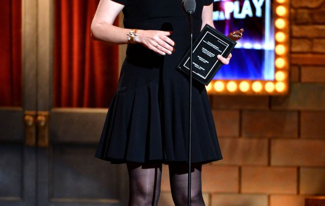 """NEW YORK, NY - JUNE 09: Pam MacKinnon accepts the award for Best Direction for """"onstage at Who's Afraid of Virginia Woolf?"""" The 67th Annual Tony Awards at Radio City Music Hall on June 9, 2013 in New York City.  (Photo by Andrew H. Walker/Getty Images for Tony Awards Productions)"""