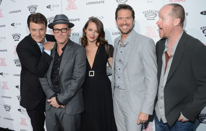 """Actors Nathan Fillion, Clark Gregg, Amy Acker and Alexis Denisof and director Joss Whedon attend screening of Lionsgate and Roadside Attractions' """"Much Ado About Nothing"""" last week in Hollywood, Calif."""