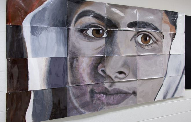 "A collaborative painting by Matt SaGurney and students from Kenmore East High School is on view in the exhibition ""Healing Hearts: From Hurt to Hope"" in the Albright-Knox Art Gallery."