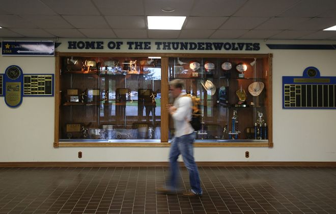 """""""Home of the Thunderwolves"""" trophy case in the NCCC physical education building shows the teams' successes, which have raised  the post-season budget and stifled the college's ability to fund new sports."""