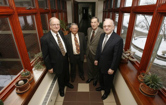 From left, Ecology & Environment co-founder Gerhard J. Neumaier resigned Friday, while Ronald L. Frank, Frank Silvestro and Gerald A.Q. Strobel remain.