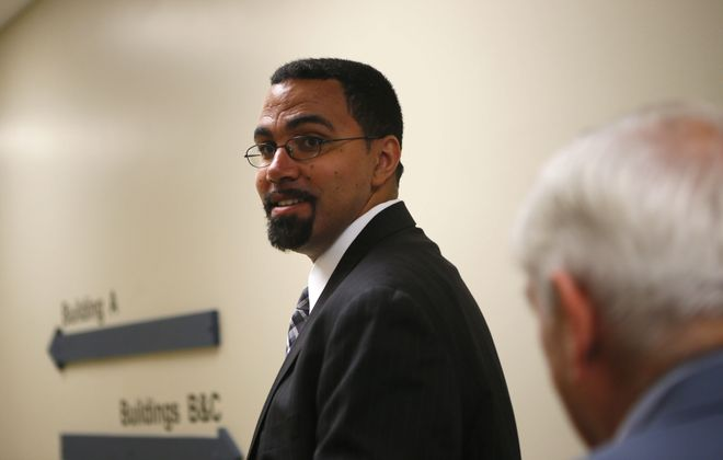 State Education Commissioner John B. King Jr. today during a visit to Erie 1 BOCES in West Seneca. (Derek Gee/Buffalo News)
