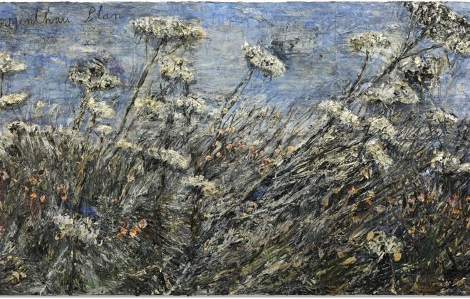 "The Albright-Knox Art Gallery will exhibit German-born painter Anselm Kiefer's large 2012 landscape ""der Morgenthau Plan,"" left, which it recently acquired, in a yearlong exhibition opening Nov. 17. Kiefer's painting ""Die Milchstrasse,"" which the gallery acquired in 1988, also is part of the exhibition."
