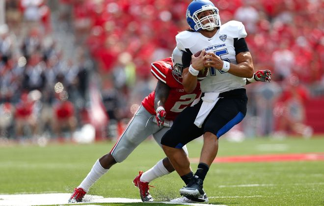 Ohio State's Christian Bryant tackles UB quarterback Alex Zordich, who took over for Joe Licata in the fourth quarter.