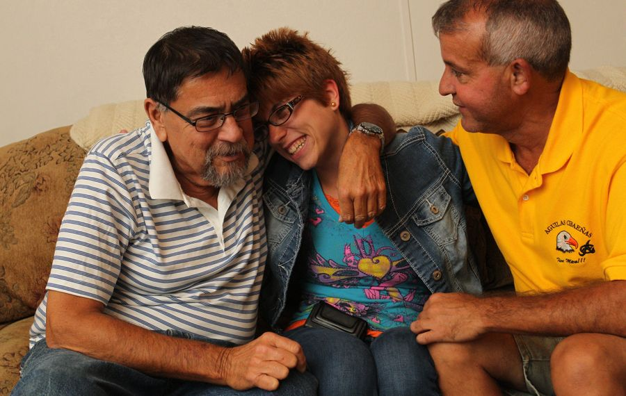 Tanya Sieck, 27, donated her kidney to a stranger so that her uncle, Daniel Roberts, would move up on the list to receive a kidney.  Juan Aybar, right, received her kidney June 17.