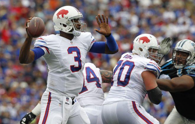 Buffalo Bills quarterback, EJ Manuel, in action against the Carolina Panthers,at  Ralph Wilson Stadium ,on Sunday, Sept. 15, 2013.(Harry Scull Jr./Buffalo News)