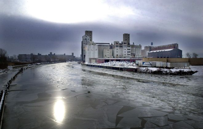 Under a plan to be called Buffalo RiverWorks, developers would convert the inactive 8 acre Wheeler-GLF grain elevator site – seen here a few winters ago – from a place where heavy equipment is stored into multiple waterfront attractions.