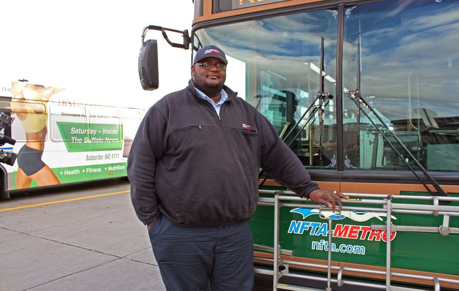 """NFTA Metro bus driver Darnell Barton says he """"didn't think it was real"""" when he saw a young woman preparing to jump from an overpass on Elmwood Avenue earlier this month."""