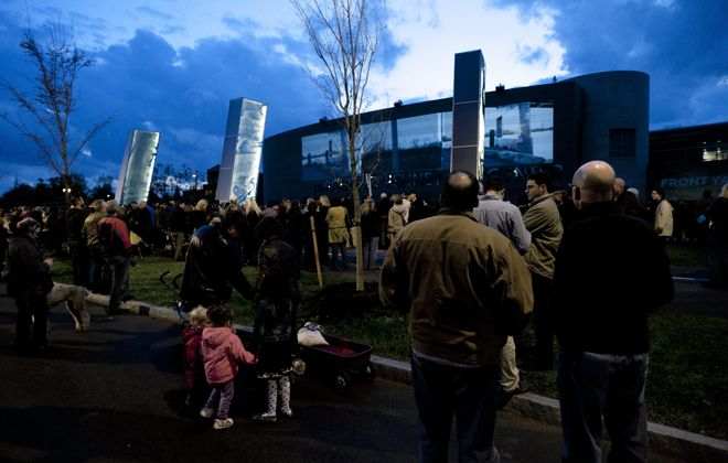 The Burchfield Penney Art Center's permanent outdoor installation 'The Front Yard' opened Friday night. See more photos at galleries.BuffaloNews.com