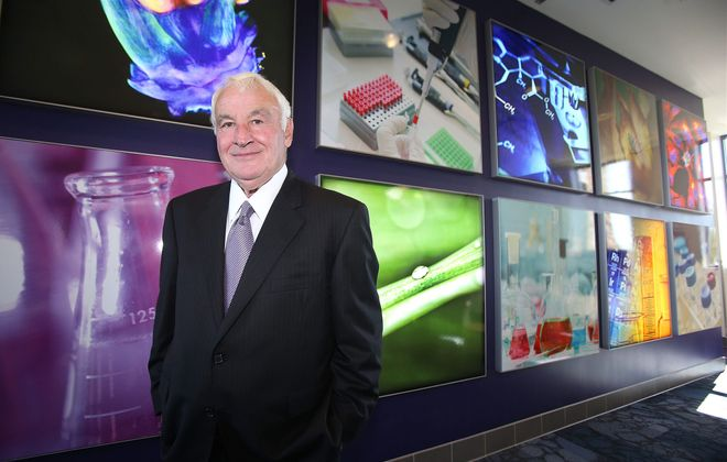 B. Thomas Golisano poses in the B. Thomas Golisano Center for Integrated Sciences at Niagara University.  His $10 million gift made the center possible. See a photo gallery on BuffaloNews.com.