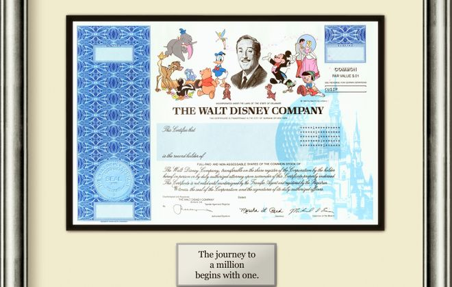 Walt Disney Co. stock certificates have long been a collector's item and have been pitched by online vendors as a way to teach children about investing.