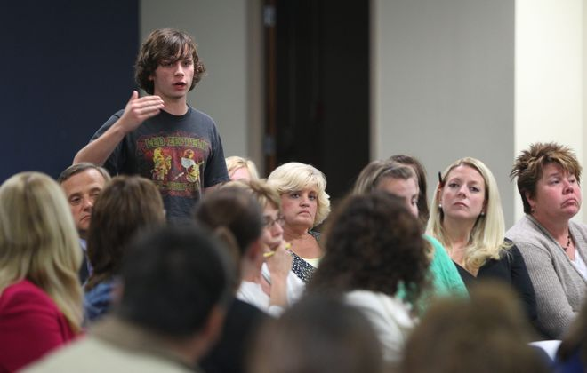 Senior Gatlin Walters was among those speaking about issues in the Hamburg District.