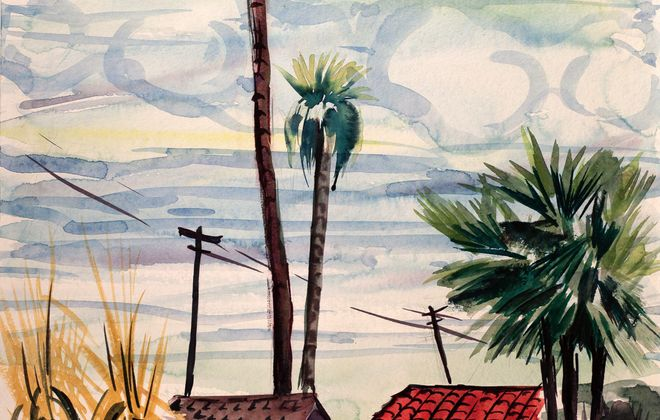 "Catherine Parker's 1976 painting ""Aptos"" hangs in an exhibition of her work in Muleskinner Antiques through Oct. 26."
