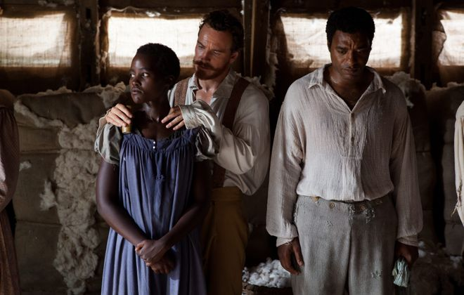 """Lupita Nyong'o as Patsey, Michael Fassbender as Edwin Epps and Chiwetel Ejiofor as Solomon Northrup in """"12 Years a Slave."""""""
