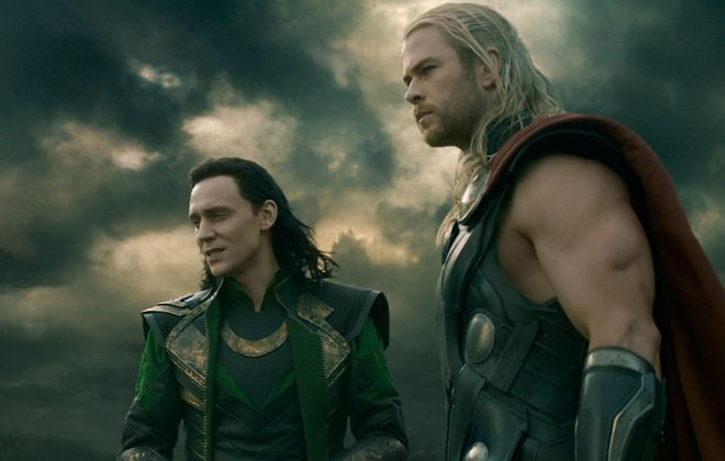 "Tom Hiddleston, left, is Loki, and Chris Hemsworth is Thor in ""Thor: The Dark World."""