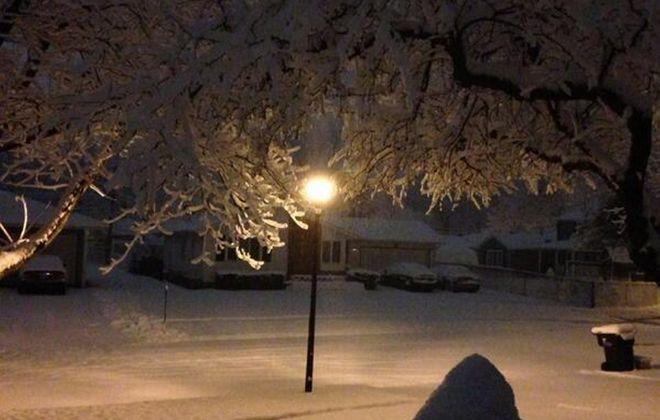 Heavy, wet snow blanketed the area overnight.   (John Hickey/Buffalo News)