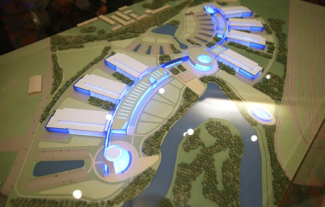 "A 3D model of the ""River Bend Project"" shows what Gov. Andrew M. Cuomo's ""Buffalo billion"" is scheduled to produce along the Buffalo River."