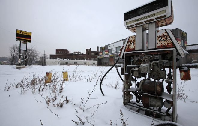 Old, rusted pumps sit at the former Sam's Gasoline Station on Ohio Street. Owner Carl Paladino plans to knock down the station.
