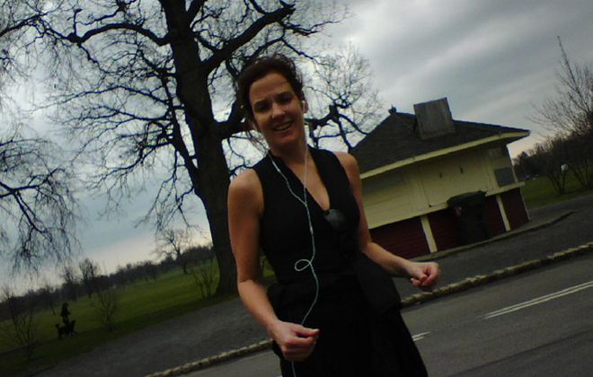 It was balmy enough for Jackie Gurney to go for a walk in her sleeveless running outfit today in Delaware Park. Colder temperatures are on the way.