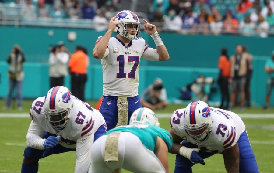 Buffalo Bills quarterback Josh Allen (17) changes the play at the line in the third quarter at Hard Rock Stadium on Sunday, Nov. 17, 2019. (James P. McCoy/Buffalo News file photo)