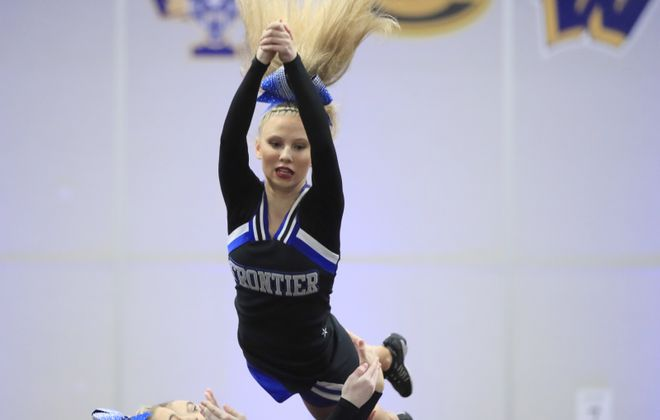 Frontier High School cheerleaders perform during the Section VI Championships at Starpoint High School, on Feb. 9, 2020. (Harry Scull Jr./Buffalo News)