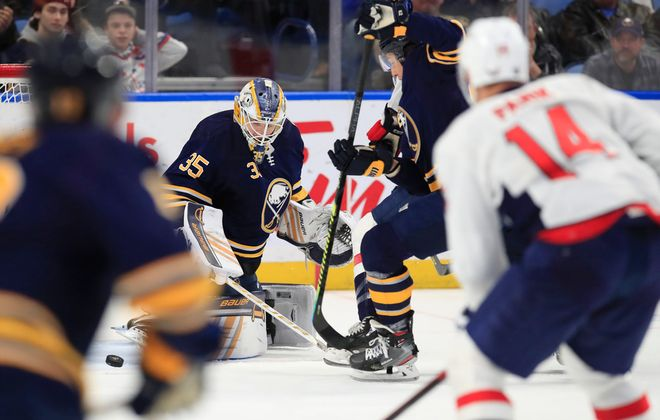 Goalie Linus Ullmark and the Sabres haven't been on the ice since their March 9 shootout win over the Washington Capitals in KeyBank Center (Harry Scull Jr./Buffalo News).
