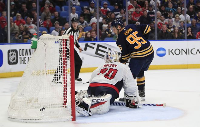 Buffalo Sabres player Dominik Kahun score in a shootout against the Washington Capitals. (Harry Scull Jr./Buffalo News)