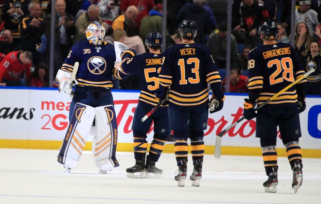Buffalo Sabres goaltender Linus Ullmark celebrates an overtime victory against the Washington Capitals at the KeyBank Center, on Monday, March 9, 2020. (Harry Scull Jr./Buffalo News)