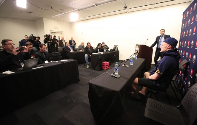 Buffalo Sabres captain Jack Eichel meets the media in the conference room instead of the dressing room after defeating the Washington Capitals in a shootout at KeyBank Center on Monday, March 9, 2020. (Harry Scull Jr./Buffalo News)