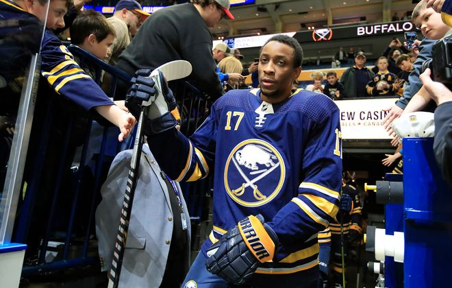 Buffalo Sabres forward Wayne Simmonds makes his way to pregame prior to playing the Washington Capitals at the Ketybank Center, on Monday, March 9, 2020. (Harry Scull Jr./Buffalo News)