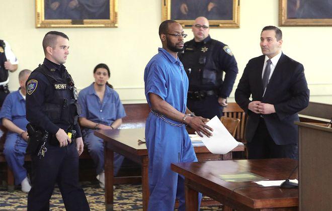 Yasin Abdu-Sabur is arraigned in the 2015 murder of Terri Lynn Bills on March 3, 2020, in the Niagara County Courthouse in Lockport. (John Hickey/Buffalo News)
