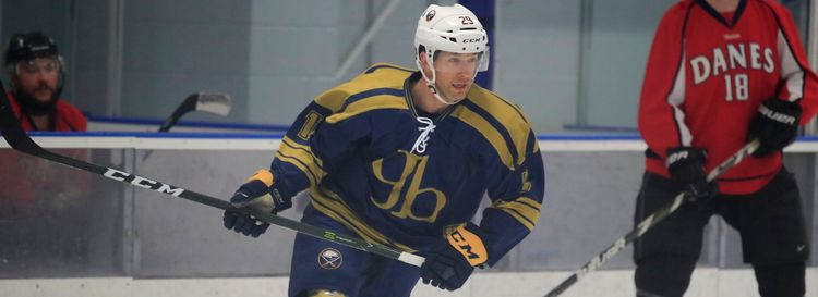 Sabres alumnus Jason Pominville plays for P22 in a playoff game against Pool Brite Danes at the Northtown Center on Monday, March 2, 2020. (Harry Scull Jr./Buffalo News)